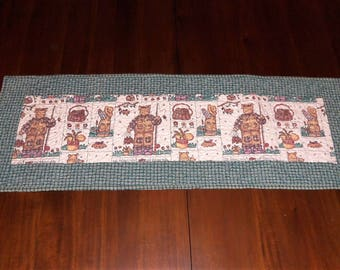 Quilted Table Runner, Fabric Centerpiece, 13x37 Inches, Cat Fishing, Table Topper, Country Farmhouse, Cabin Table Decor, Machine Quilted