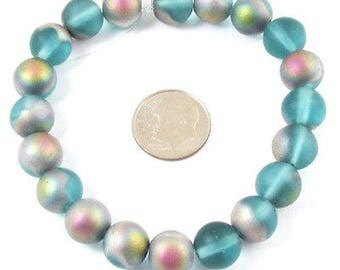 Czech Round Glass Beads-FROSTED AQUA VITRAIL 10mm (20)