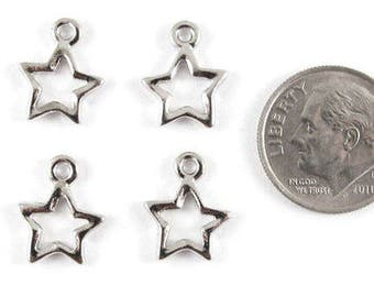 TierraCast Pewter Charms-Rhodium Silver Open Star (4)