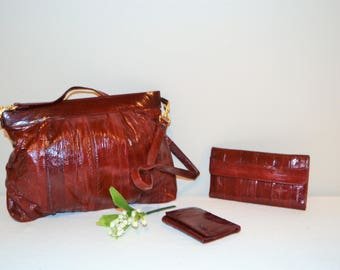 Eelskin Vintage Trio of Burgundy Pieces