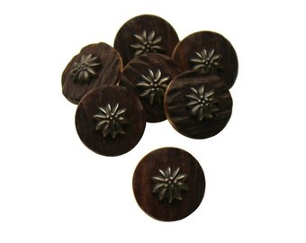 Set of 7 Round Decorative Floral Shank Sewing Buttons - Dark Brown Woodgrain Texture with Faux Tarnished Silver Plant Centerpiece (17mm)