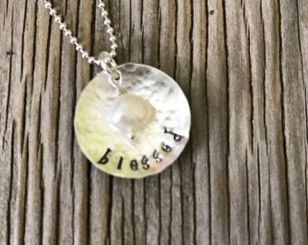 Sterling silver charm pendant- hand stamped blessed ready to ship inspirational jewelry gift for her spiritual gift