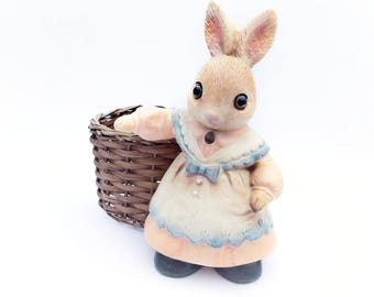 Vintage Mother Bunny with attached Woven Basket , Made in Japan 1960's Era , Rabbit with Glass eyes in pastel dress Collectible Springtime