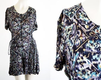 Betsy Lauren Rayon Navy Print Button Front Side Tie Short Sleeve 90's Romper Woman's Vintage Jumper