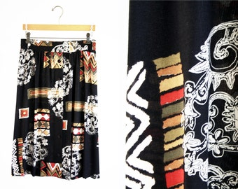 Vintage 90's Norton McNaughton Black White Yellow and Red Tribal Style Print Button Front Woman's Retro Skirt