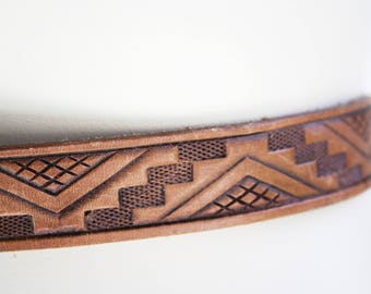Vintage Leather Aztec Print Embossed Thin Retro Belt with Gold Tone Buckle