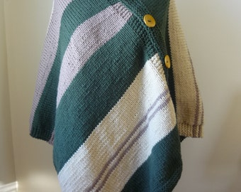Knit Poncho Knit Wrap in a Green Beige Taupe Stripes  - Casual Wear - Women's Poncho L/XL - Ready to Ship - Direct Checkout - Gift for Her
