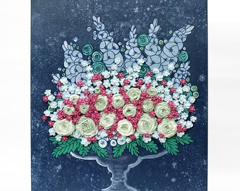 Canvas Art Painting of Flower Bouquet - Sculpted Roses Floral Still Life in Blue Green Pink - Small 16x20