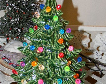"""Ceramic Christmas Tree  Evergreen  9""""   Vintage style Lighted - desk top - nursing home -  Ready to ship Lots of lights"""