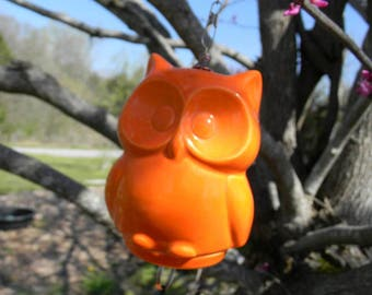 Ceramic  Owl Wind Chimes  Statue in bright orange Owl Nursery decoration baby, home or garden statue cm