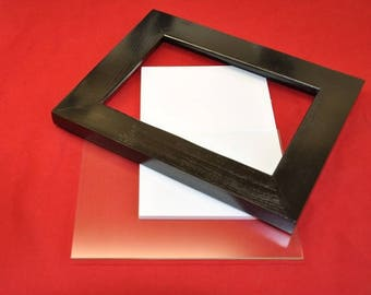 5x7 Picture Frame Black with Glass Backing and Mounting Hardware