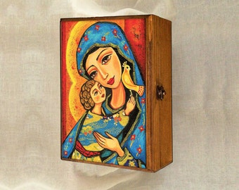Madonna and child, Virgin Mary and Jesus painting, mother box, mother child, keepsake box, christian box, jewelry box, 7x10
