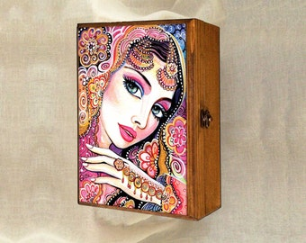 indian bride art beautiful Indian woman art art box Indian decor bollywood, wooden gift box, treasure box, 7x10