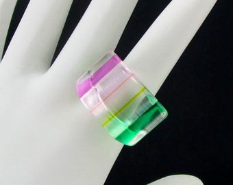 Lucite Ring Green Yellow Pink Size 6 plus