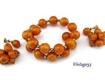 Bakelite Beaded Bracelet Earrings Marbled Pumpkin