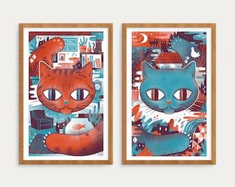 Cat Screen Print set - 2 Prints - 11x17 Indoor and Outdoor Cat Prints
