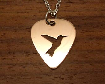 Hummingbird Necklace, Guitar Pick, Copper Necklace, Hummingbird Keychain, Pick Pendant, Copper Pick, Hummingbird Jewelry, Chain Or Key Ring