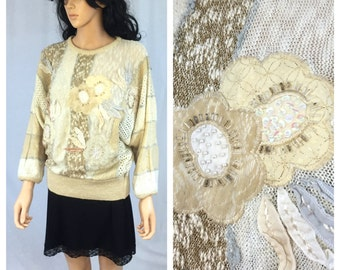 Vintage Off White Striped Pullover Sweater. Dolman Sleeve. Hollywood & Vine. Medium. 1980s Sweater. Floral Appliqués. Beaded Sweater. Tan.