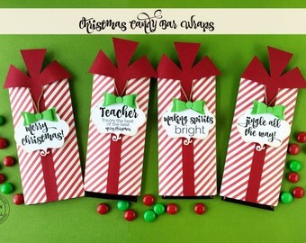 KIT Christmas Hershey Candy Bar Wrap Stripe / Candy Bar Wrappers /Stocking Stuffers / Teacher Appreciation/ Classroom Treat / Party favors