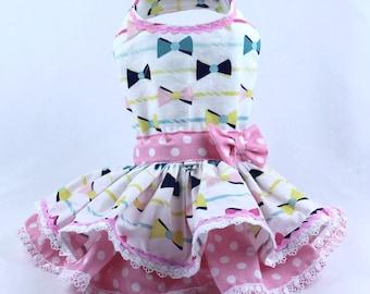 Dog Dress, Dog Harness Dress, Dog Clothes for Small Dog, Ruffle Dress for Dogs, Summer Dress, Handmade Dress, Custom Dress, White, Bow Tie