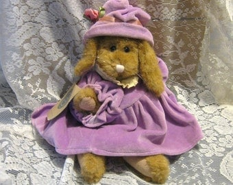 Boyds Bear Bunny in Purple Dress and Hat - 1995 - Too Cute!