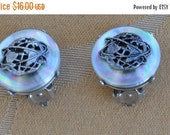 """On sale Pretty Vintage Iridescent, Silver tone """"Worldly"""" Clip Earrings (AO9)"""