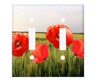 Poppies Switchplate Cover, Poppy Light switch cover,  Single switchplate, double switchplate, Rocker Cover