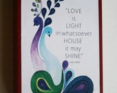 "Bahai Quote""Love is light in whatsoever house it ma shine"" Baha'i Art AYY'AM_I_H'A GIFT"