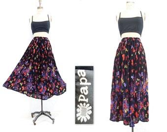 Vintage Indian Skirt Vintage Boho Skirt Boho Black Skirt Gauze Hippie Skirt Butterfly Print Colorful Black Skirt Boho Festival Skirt One Sz