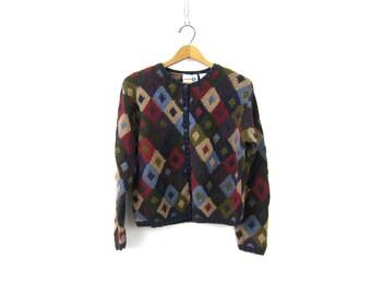 Purple Sweater Cardigan Textured Knit Cardigan Button Up Sweater Preppy Fall Sweater Ramie Cotton Crop Sweater Top Womens Medium