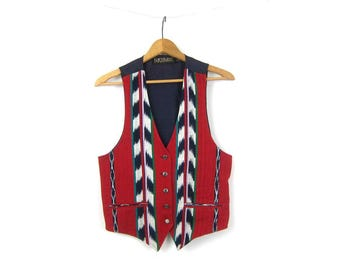 90s Red Blue IKAT Vest Sleeveless Layer Jacket Button Up Hippie Boho Ethnic Hipster Vintage Womens Size Small