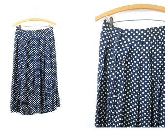 Polka Dot Skirt Blue & White Pleated Midi Skirt High Waisted Preppy Modern Dress Women's Size Medium Large 32 inch Waist