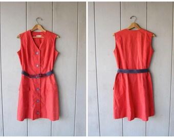 Vintage 80s Red Dress Button Up Midi Dress Sleeveless 70s Sundress Belted Summer Shift Dress Plain Basic Sun Dress Vintage Womens Medium