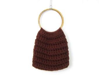 1970s Crochet Purse Dark Brown fabric bag purse Vintage Hoop bag purse Slouchy Hippie boho bag knit handbag tote Medium Sized