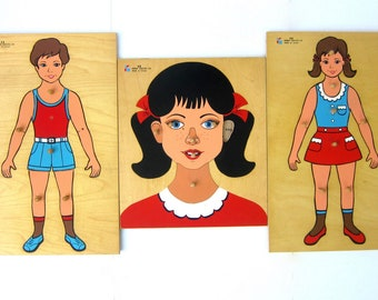 Large Boy & Girl Puzzles Vintage Wood Tray Wooden Knob Puzzles Body Face Puzzle Set of 3 Kitschy Wall Art Decor Doron Layeled Made in Israel