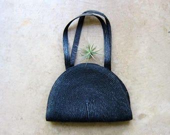 Black Woven Straw Bag Oversized Purse Modern Beach Bag Long Shoulder Bag 70s Woven Boho Purse Minimal Straw Weave Bag 80s Hippie Summer Bag