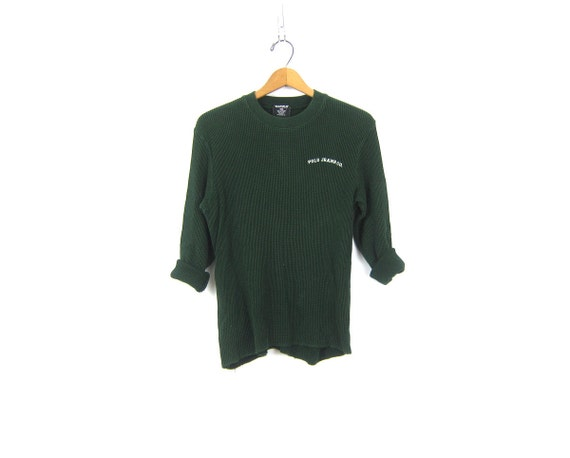 vintage Green long sleeve long underwear top minimal look POLO Thermal shirt basic Rugged COED Layering shirt Size Medium Large