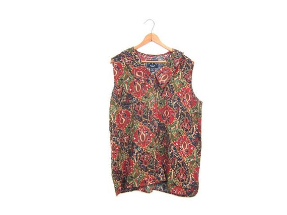 90s Abstract Floral Top Button Up Sleeveless Blouse Tank Top Vintage Boho Tshirt Blue Green Rayon Blouse Summer Top Womens Large Medium