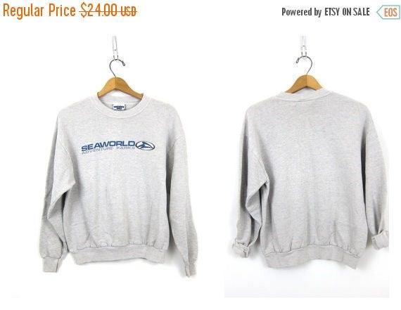 Seaworld sweatshirt Thin slouchy Gray sweatshirt ATHLETICS 1980s Sports Sporty Crewneck pullover work out shirt COED Size Medium