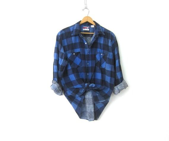 Vintage Blue & Black Flannel 80s Grunge Buffalo Plaid Check Shirt Boyfriend Button Up Worn In Tomboy Shirt Unisex Top Size XL