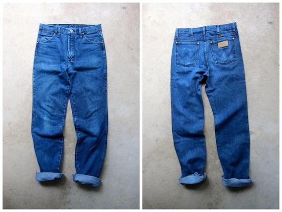 "80s High Waist Blue Jeans Wrangler Straight Leg Boyfriend Jeans Vintage High Rise Mens Work Jeans Hipster Blue Denim Womens 30"" Waist"
