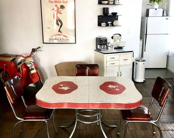 Vintage 1950s Teapots in Apple Red Formica Kitchen Chrome Table & Matching Vinyl Chairs Set