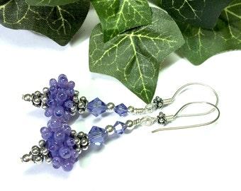 Purple Earrings Sea Urchin Earrings Dangle Earrings Lampwork Earrings Fun Earrings Artisan Earrings Lampwork Earrings