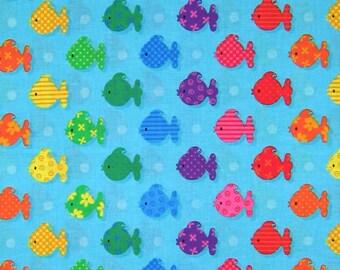 Fabric Traditions - Patty Reed Rainbow Fish Stripe on Blue Nursery Kids YARDS