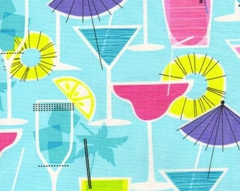 FRUITY DRINKS Martini Glitter Aqua Blue - Timeless Treasures Cotton Fabric YARDS