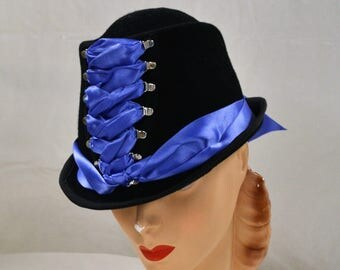 Corseted Victorian Riding Hat in Black Wool with Periwinkle Ribbon