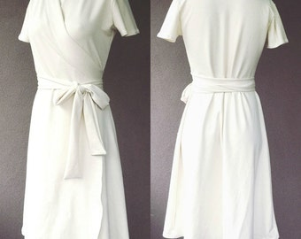 True wrap dress, long white dress, organic women's clothing