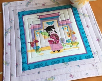Geisha mug rug - quilted coaster - 11.5 inch / Dragonfly / Lantern Festival Fabric / purple / butterfly / floral / gift for her / Asian