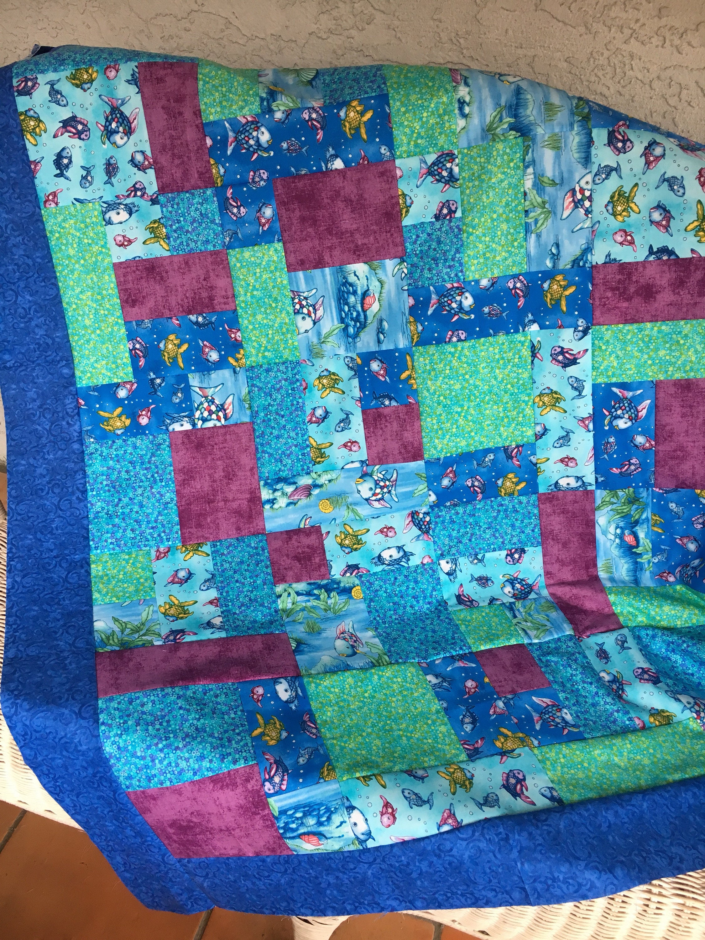 The rainbow fish by studio 37 fabrics unfinished quilt top for Rainbow fish fabric