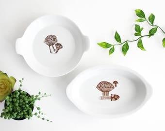 Mid Century Modern Ceramic Mushroom Dishes / Rare Vintage Finel Arabia Mushroom Dishes / Kaj Franck Mushroom Dishes